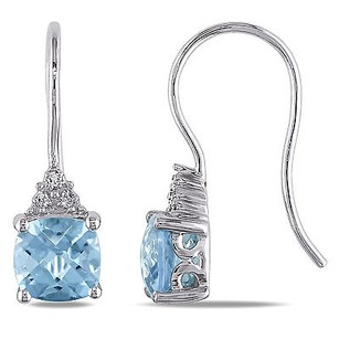 Amour Amour 10k White Gold Sky Blue Topaz And Diamond Earrings