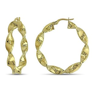 Amour Amour 10k Yellow Gold Twisted Hoop Earrings