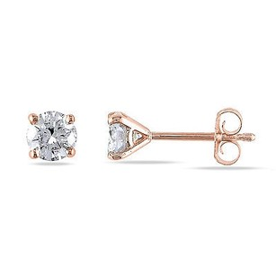Amour Amour 14k Rose Pink Gold 14 To 1 Ct Tdw Diamond Stud Earrings G-h I1-i2