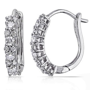 Amour Amour 14k White Gold 12 Ct Tdw Diamond Cuff Hoop Earrings G-h I1-i2