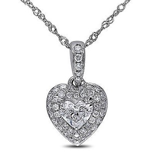 Amour Amour 14k White Gold 12 Ct Tdw Diamond Heart Pendant Necklace G-h I1-i2 17