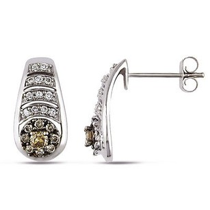 Amour Amour 14k White Gold 12 Ct Tdw White And Brown Diamond Stud Earrings H-i I1-i2