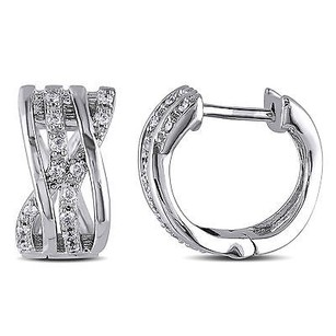 Amour Amour 14k White Gold 16 Ct Tdw Diamond Hoop Earrings H-i I2-i3