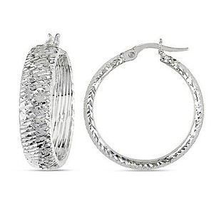 Amour Amour 14k White Gold Hoop Clip-in Earrings