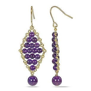 Amour Amour 18k Goldplated Amethyst Quartz Dangle Hook Nickle Earrings