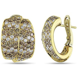 Amour Amour 18k Yellow Gold 14 Ct Tdw Brown White Diamond Stud Earrings G-h Si1-si2
