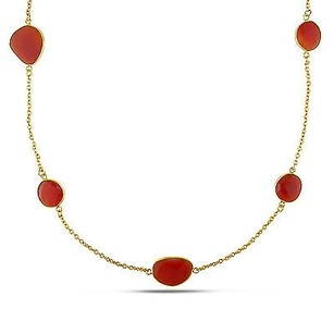 Amour Amour 22k Yellow Gold Overlay Ct Tgw Carnelian Gemstone Necklace 36