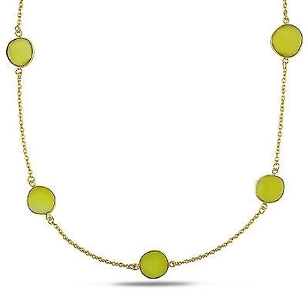Amour Amour 22k Yellow Gold Overlay Ct Tgw Yellow Onyx Gemstone Necklace 36