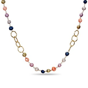 Amour Amour Brass Yellow Rhodium Plated Multi-color Pearl Necklace Strand 35