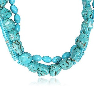 Amour Amour Multi-shape Turquoise Bead High-polish Three-strand Necklace 18