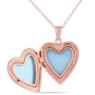 Amour Amour Rose Pink Sterling Silver Heart Locket Pendant Necklace 18