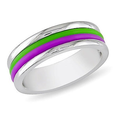 Amour Amour Stainless Steel Purple And Green Material Stripes Band Ring