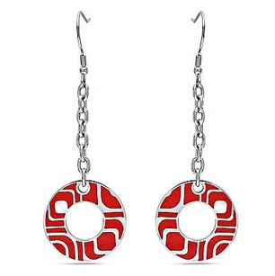 Amour Amour Stainless Steel Round Red Epoxy Dangle Earrings
