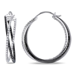 Amour Amour Sterling Silver 12 Ct Tdw Black And White Diamond Hoop Earrings H-i I2-i3
