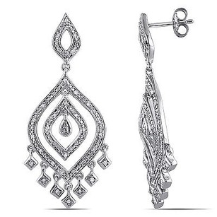 Amour Amour Sterling Silver 14 Ct Tdw Diamond Dangle Earrings H-i I2-i3
