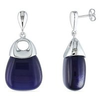 Amour Amour Sterling Silver 80 Ct Tgw Blue Simulated Cat Eye Dangle Earrings