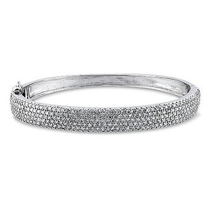 Amour Amour Sterling Silver 8.20 Ct Tgw Cubic Zirconia Bangle Bracelet 7.25
