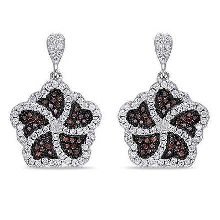 Amour Amour Sterling Silver Brown Coffee And White Cubic Zirconia Flower Drop Earrings