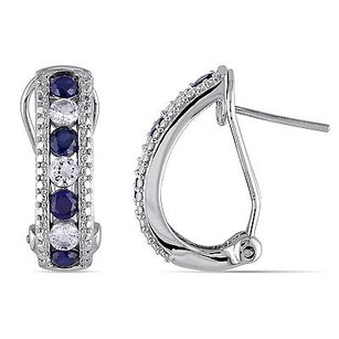 Amour Amour Sterling Silver Created Blue And White Sapphire Dangle Stud Earrings