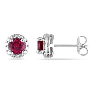 Amour Amour Sterling Silver Created Ruby Stud Earrings