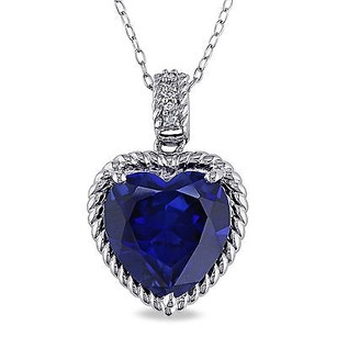 Amour Amour Sterling Silver Created Sapphire Diamond Pendant Necklace 18
