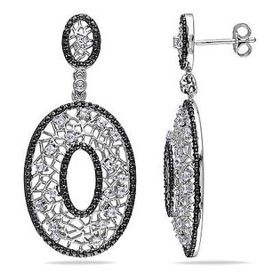 Amour Amour Sterling Silver Created White Sapphire Dangle Earrings