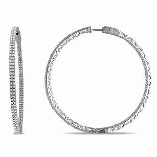 Amour Amour Sterling Silver Ct Tdw Diamond Hoop Earrings H-i I2-i3