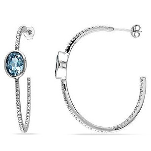 Amour Amour Sterling Silver Ct Tgw Blue Topaz Hoop Earrings