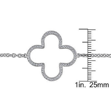 Amour Amour Sterling Silver Cubic Zirconia Clover Bracelet 7.5 0.6 Ct Tgw