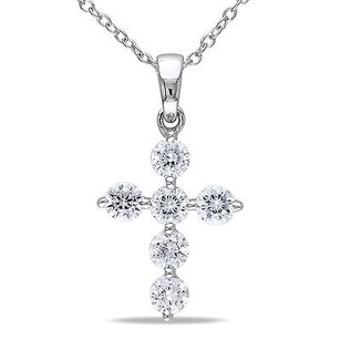 Amour Amour Sterling Silver Cubic Zirconia Cross Religious Pendant Necklace 18