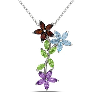 Amour Amour Sterling Silver Garnet Peridot And Amethyst Pendant Necklace 18