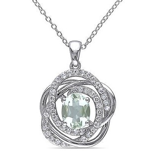 Amour Amour Sterling Silver Green Amethyst And White Topaz Pendant Necklace 18