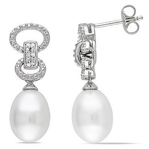 Amour Amour Sterling Silver Pearl And Diamond Dangle Earrings 9-9.5 Mm