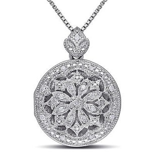 Amour Amour Sterling Silver Vintage Diamond Locket Pendant Necklace H-i I2-i3 18