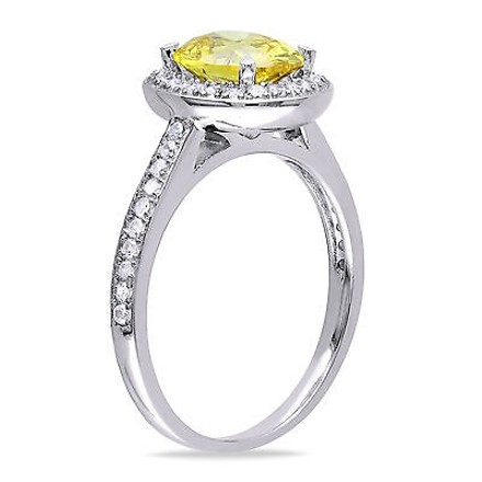 Amour Amour Sterling Silver Yellow And White Cubic Zirconia Engagement Cocktail Ring