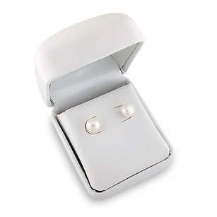 Amour Amour Sterling Silvertone White Pearl Stud Earrings 7-8 Mm