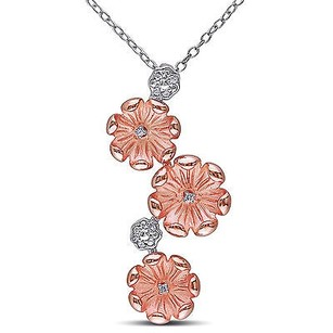 Amour Amour Two-tone Sterling Silver Diamond Accent Flower Pendant Necklace 18