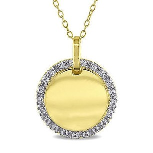 Amour Amour Yellow Sterling Silver Created White Sapphire Circle Pendant Necklace 18