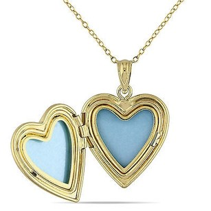 Amour Amour Yellow Sterling Silver Heart Locket Pendant Necklace 18