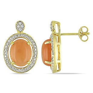 Amour Goldtone Orange Moonstone And Diamond Accent Stud Earrings