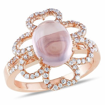 Amour Pink Sterling Silver 12 Ct Tw Rose Quartz Cubic Zirconia Cocktail Ring