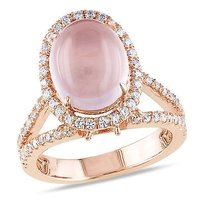 Amour Pink Sterling Silver 34 Ct Tgw Rose Quartz And Cubic Zirconia Cocktail Ring
