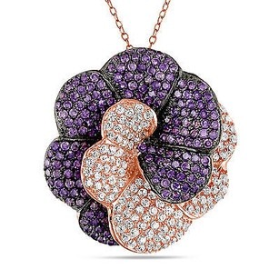 Amour Pink Sterling Silver Purple White Cubic Zirconia Pendant Necklace Ct 18