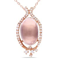 Amour Pink Sterling Silver Rose Quartz And Cubic Zirconia Pendant Necklace 18