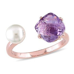 Amour Rose Pink Sterling Silver Freshwater White Pearl And Amethyst Ring