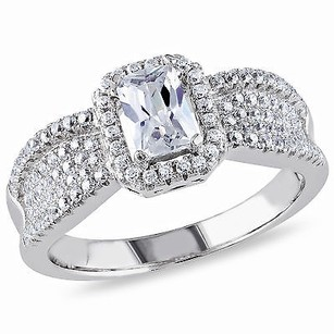 Amour Silver 6x4 O Ctagonal White 1mm Round Cubic Zirconia Ring