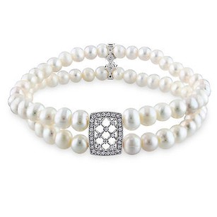 Amour Silver Starnd 5-6 Mm Freshwater Off Round Pearl Cubic Zirconia Bracelet