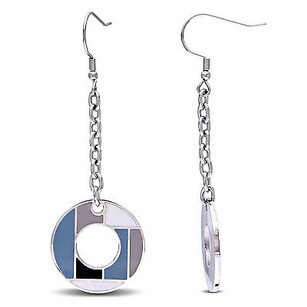Amour Stainless Steel 23mm Round Shape W Multi Color Epoxy Circle Dangle Earrings