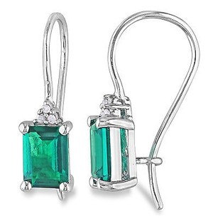Amour Sterling Silver 1-34 Ct Tgw Created Emerald Diamond Accent Earrings H-i I3