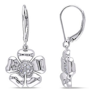 Amour Sterling Silver 110 Ct Tdw Diamond Floral Drop Dangle Leverback Earrings G-h I3